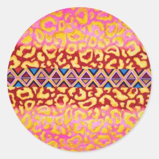 STAMMES- LEOPARD Rosa-gebürtige Tierdruck-Malerei Runder Sticker
