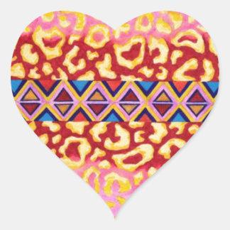 STAMMES- LEOPARD Rosa-gebürtige Tierdruck-Malerei Herzaufkleber