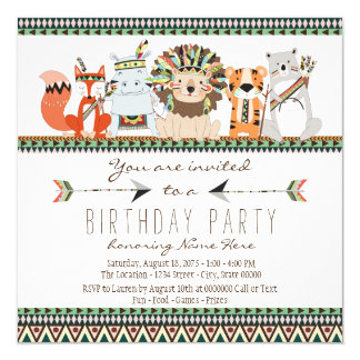 Stammes- Tier scherzt indisches Geburtstags-Party Quadratische 13,3 Cm Einladungskarte