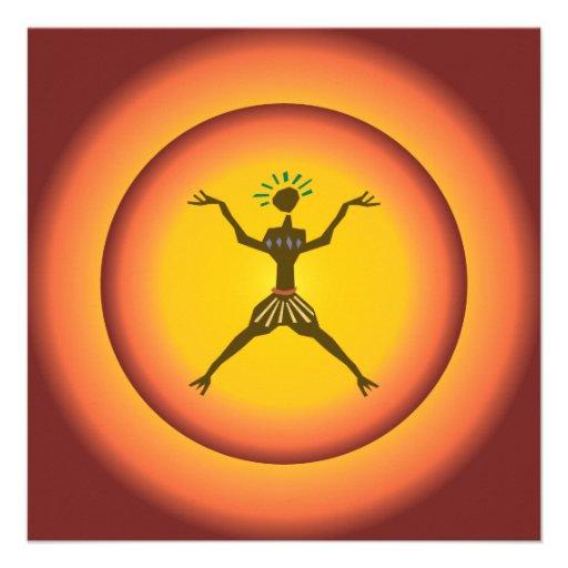 Stammes- ursprünglicher Mannglühender Sun-Entwurf Personalisierte Einladungskarte
