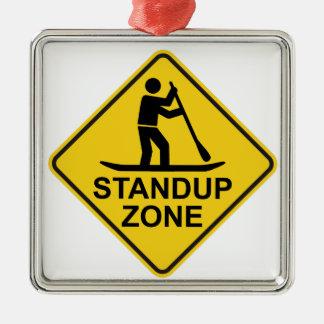 Standup Paddleboarding Zonen-Verkehrsschild Silbernes Ornament
