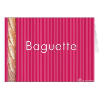 Stangenbrot auf französischer rosa Tapisserie Karte