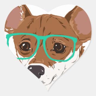 Stanley die Chihuahuamischung Herz-Aufkleber