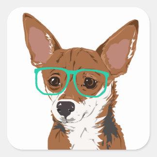 Stanley die Chihuahuamischung Quadratischer Aufkleber