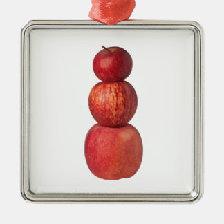 Stapel Äpfel Quadratisches Silberfarbenes Ornament