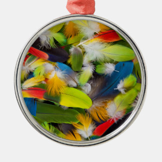 Stapel der bunten Federn Silbernes Ornament