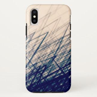Staplungskreuzschraffieren-Retro Blau - iPhone X Hülle
