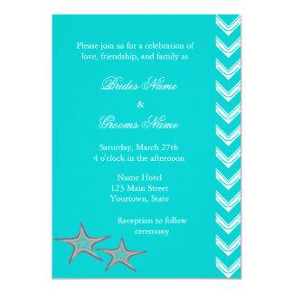 Starfish, Aqua-Strand-Sommer-Hochzeit lädt ein 12,7 X 17,8 Cm Einladungskarte