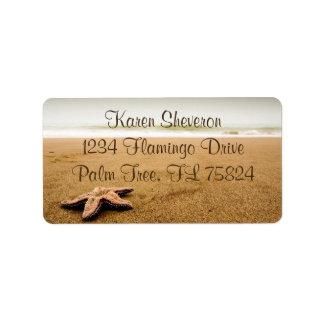 Starfish auf Sandy-Strand-Adressen-Etiketten Adressaufkleber