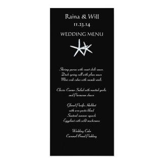 Starfish auf schwarzer, hoher Hochzeits-Menü-Karte 10,2 X 23,5 Cm Einladungskarte