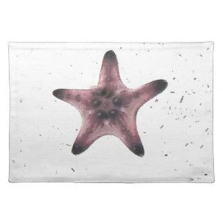 Starfish auf weißem Sand-Minimalismus-Muster Stofftischset