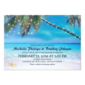 Starfish-Paar beleuchtet Strand-Hochzeit in Karte