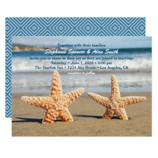 Starfish-Paar-Strand-Hochzeits-Einladung Karte