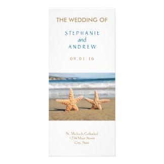 Starfish-Paar-Strand-Hochzeits-Programme Werbekarte