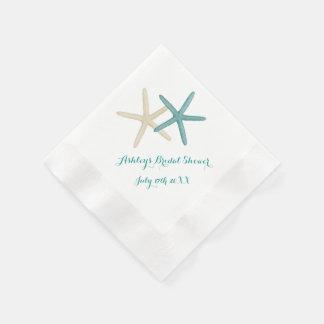Starfish verbinden die aquamarinen und weißen serviette