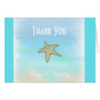 Starfishseashell-Hochzeit danken Ihnen zu Grußkarte