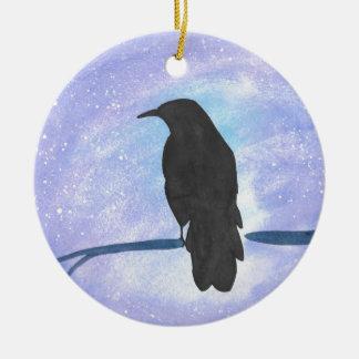 Stargazing Krähe Keramik Ornament