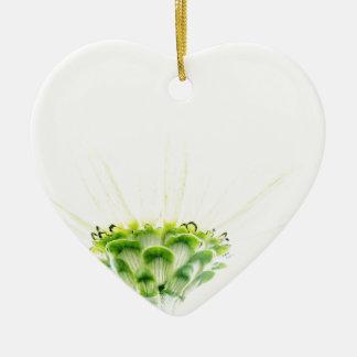 Stark vereinfachter weißer Zinnia Keramik Ornament
