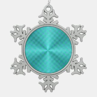 Stark vereinfachtes Aqua/Green>Snowflake Schneeflocken Zinn-Ornament