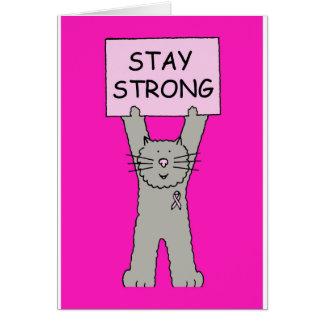 Starke Katze des rosa Bandaufenthalts Karte