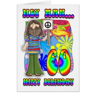 Starker 60. Geburtstag - Hippie-Geburtstag Grußkarte