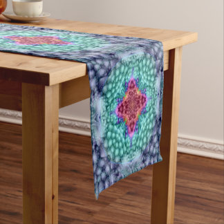 Starkes blaues Kaleidoskop-bunter Tabellen-Läufer Kurzer Tischläufer