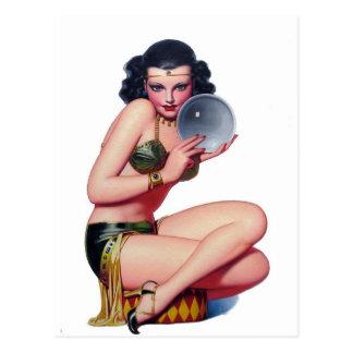 Starren Sie in den Kristallball an Postkarten