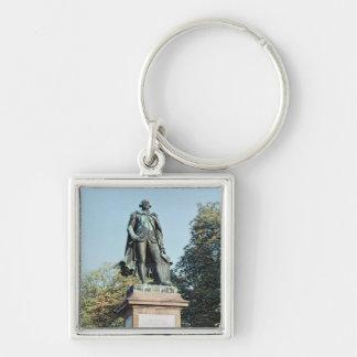 Statue von Jean Francois de Galaup Silberfarbener Quadratischer Schlüsselanhänger
