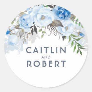 Staubige blaue Watercolor-Blumen elegant Runder Aufkleber