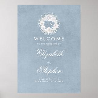 Staubiger der Atem-Hochzeits-Willkommensschild des Poster