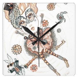 Steampunk Alice und die weiße Quadratische Wanduhr