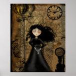 Steampunk Goth Mädchen-Kunst-Plakat