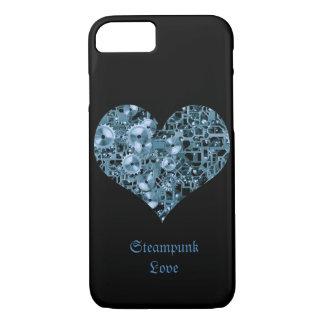 Steampunk Liebe-blaue Zahn-Stahlherz auf Schwarzem iPhone 8/7 Hülle