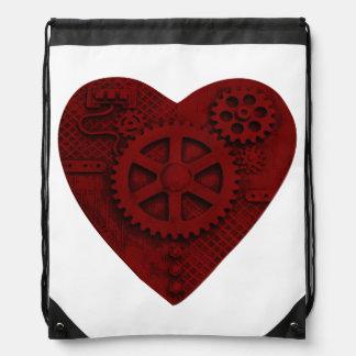 Steampunk mechanisches rotes Herz Turnbeutel