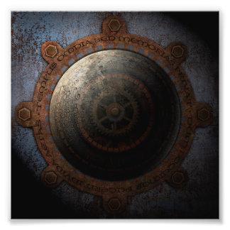 Steampunk Mond-Uhr-Zeit-Metallgänge Fotodruck