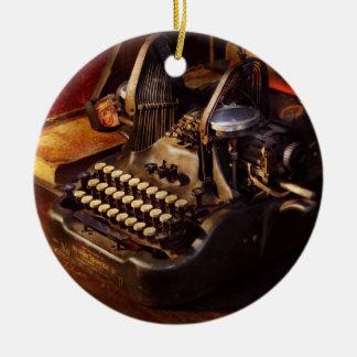 Steampunk - Oliver Schreibmaschine Rundes Keramik Ornament