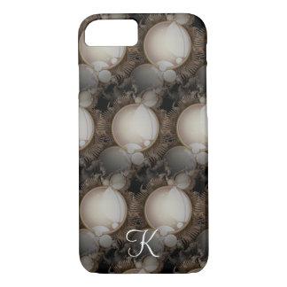 Steampunk Perlen auf schwarzem Monogramm iPhone 8/7 Hülle