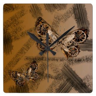 SteamPunk Schmetterlings-Medien-Kunstart Uhr