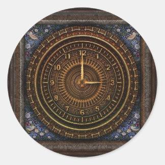 Steampunk Vintager Uhr-Aufkleber mit Sun und Runder Aufkleber