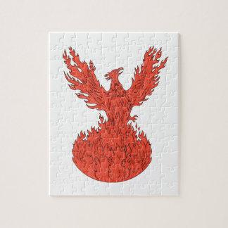 Steigendes brennendes Flammen-Zeichnen Phoenix Puzzle