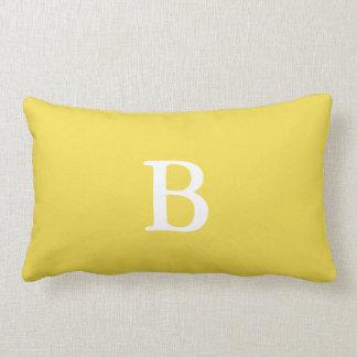 Stellen Sie Ihr Monogramm-Gelblumbar-Kissen her Lendenkissen