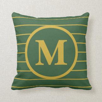 Stellen Sie Ihr Monogramm-Gold und grünes Kissen