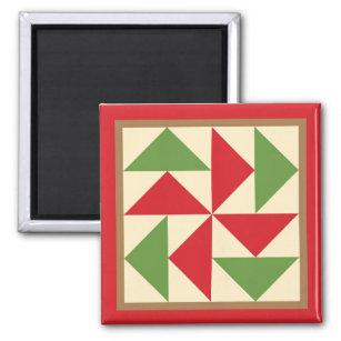 Steppdecken-Magnet - Holländer-Puzzlespiel (rot) Quadratischer Magnet