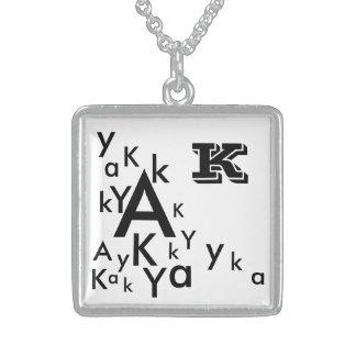 Sterlingsilber-Quadrat-Halskette mit Buchstaben Sterling Silberkette