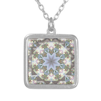 Stern-Mandala-Quadrat Silber-Überzogene Halskette
