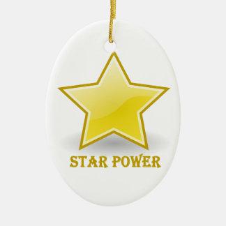 Stern-Power mit einem Goldstern Ovales Keramik Ornament