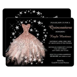Stern-Schimmer-Pfirsich Quinceanera Einladung