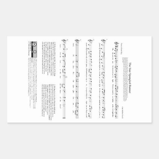 Stern-Spangled Fahnen-Nationalhymne-Musik-Blatt Aufkleber