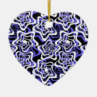 Stern weiß, blau, Schwarzes 2 Keramik Ornament