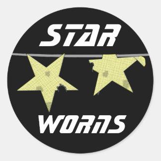 Stern Worns Spaß Runder Aufkleber